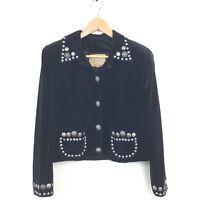 Double D Ranch Wear Jacket XS Black Velvet Studded Silver Buttons Beaded Wkmens