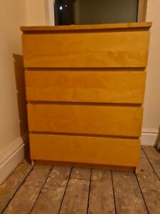 Ikea MALM 4 Drawer Chest of Drawers - Oak Veneer