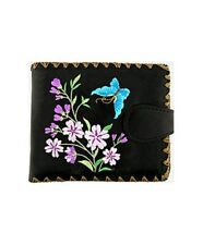 LAVISHY BUTTERFLY FLOWERS EMBROIDERY MEDIUM WALLET VEGAN FAUX LEATHER NEW 97-216
