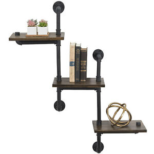 """3-Tier Wooden Wall Ladder Floating Rustic Shelf 35""""x40"""" With Iron Black Pipe"""