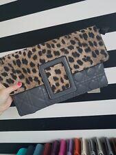 Gris Estampado de Leopardo Clutch Bag, Bolso de mano, Noche Bolso, Animal Print. BNWT