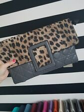 Grey Leopard Print Clutch Bag, handbag, evening bag, animal print. BNWT
