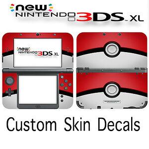 Custom Pokemon Pokeball Skin Decal Sticker Cover For New Nintendo 3DS XL