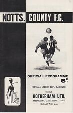 NOTTS COUNTY v ROTHERHAM UNITED ~ LEAGUE CUP 1ST ROUND ~ 23 AUGUST 1967