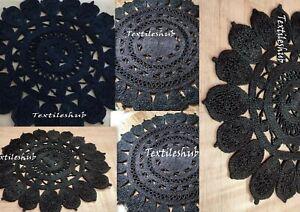 Black Beautiful 3.6 X 3.6 Feet Braided Rug Floor Decor Indian Carpet Area Rug US
