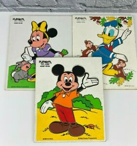 Playskool Vtg Wood Tray Puzzles Disney Donald Duck Mickey and  Minnie Mouse