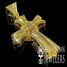 ICY MEN 14K YELLOW GOLD FINISH BLACK/WHITE LAB DIAMOND JESUS CROSS CHARM PENDANT