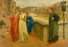 Dante and Beatrice Henry Holiday Italien Philosoph Brücke Frauen B A3 02273