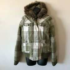 ROXY Zip Front Hooded Quilt Stitch Lined Jacket Coat Plaid Women's Medium M