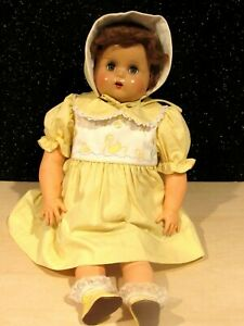 Rare Antique 1930s Baby doll Composition Head/Rubber Limbs/cloth body TEETH 22""