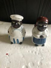 Vintage Black Americana Chef Cook Maid Salt and Pepper Shakers