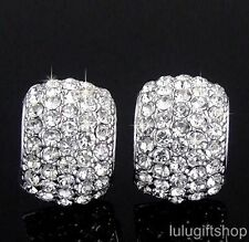 5 ROW 18K WHITE GOLD PLATED CURVED PARTY STUD EARRINGS USE SWAROVSKI CRYSTALS