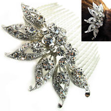USA Hair Comb vintage Crystal Handmade Bridal wedding prom flower pin silver 10