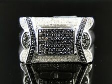 Mens White Gold Finish Black White Diamond Pinky Fashion Band Ring 0.80 Ct