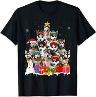 Funny Siberian Husky Christmas Tree Pet Dog Lover Gift T-Shirt Black Cotton Tee