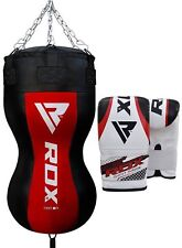 Rdx Hand Stitched Angled Filled Punching Bag Boxing Gloves Heavy Punch Bag Red U