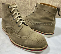 GORDON RUSH Men's TAUPE Suede Oxfords Lace Up Casual Chukka Wingtip Boot 9.5M US