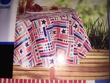 "Colorful Vinyl Tablecloth w Flannel Backing 4th of July Stars Stripes 70"" Round"