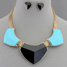 Gold Turquoise Black Necklace Fashion Urban Accessories Elegant Design
