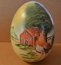 "Large Handpainted Egg With Rooster, Barn, Fence, Mountain Scene 7-1/2"" x 4-1/2"""