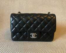 New Chanel Black Calfskin Leather Silver Rectangular Mini Classic Flap Bag