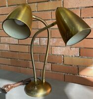 Vintage 50s 60s Adjustable Brass Bullet Cone Lamp Atomic Era Mid Century Modern