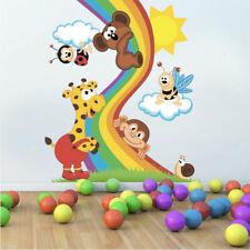 ced71 Full Color Wall decal Sticker animal friends rainbow bedroom kids nursery