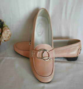 TOD`S Tods Schuhe Leder Slipper Flats Ballerinas Pumps pastell rose`Gr.40 Nw.