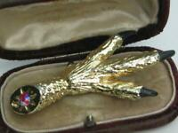 Vintage GOLD plated textured ENAMEL CLAW SCOTTISH diamante GROUSE foot brooch