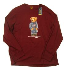 Polo Ralph Lauren Big & Tall Men's Red Burgundy Denim Bear Long Sleeve T-Shirt