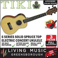 NEW Tiki Solid Spruce Top Electric Concert Ukulele w Hard Case (Natural Satin)