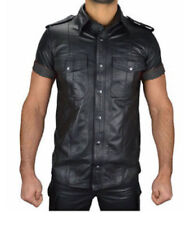 Men's Boys Hot Police Lederhemd Shirt Genuine Soft Lambskin Leather Schwarz