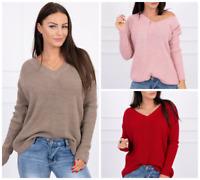 Pullover Damen Bluse V-Neck Ausschnitt Strick Pulli Weich Locker Warm Rot Rosa ♥