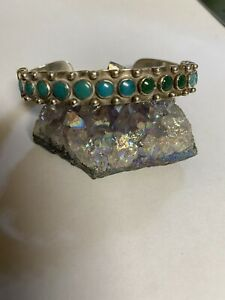 NAVAJO FRED HARVEY STERLING & SNAKE EYE TURQUOISE CUFF ORNATE WOW!