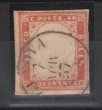 FRANCOBOLLI 1857 SARDEGNA C.40 VERMIGLIO TENUE Z/5933
