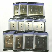 Lot of 11 Amerelle 3 Switch and 2 Switch Plates Brushed Brass and Antique Nickel