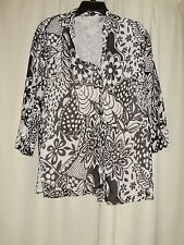 LONG SLEEVE BLACK AND WHITE FLORAL LINED SHIRT BY ALFRED DUNNER SIZE 12
