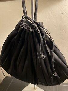 Lupo Abanico Black Pleated Leather Drawstring Large Bucket Bag VGUC