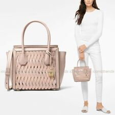 NWT 🌸 Michael Kors Mercer Studio Medium Messenger Woven Leather Bag Soft Pink