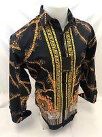 Mens PREMIERE Long Sleeve Button Down Dress Shirt BLACK CHEETAH GOLD CHAIN 339