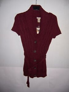Arizona Jean Co Women's Chianti Heather Short Sleeve Cardigan Sweater Size M NWT