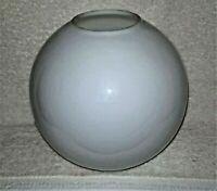 """GWTW Gloss White Milk Glass 9"""" Diameter GLOBE Oil Lamp Shade 4"""" Fitter"""
