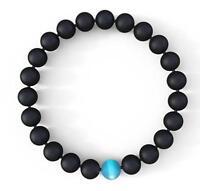 Mens Bracelet Natural Stones Onyx or Hematite Charity bracelets 8mm