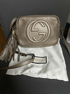 Authentic Gucci Metallic Leather Small Soho Disco Crossbody Bag