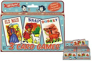 RETRO 3 CARD GAMES SET PLAYING CARDS OLD MAID DONKEY SNAP TOY SET KIDS CHILDRENS