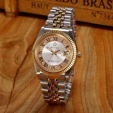 Reginald Fashion Mens Womens Gold Stainless Steel Watch Quartz Date Wristwatch