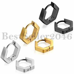 2pcs Fashion Men Women Stainless Steel Hip Hop Hexagon Ear Stud Hoop Earrings