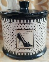 "Black & Ivory Vanity Jar w Lid Kim Poloson ""Paris Dress"" Tweel Home Furnishings"