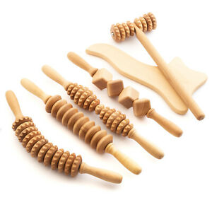 Maderotherapy Anti Cellulite Massage Set Wooden Roller Lymphatic Drainage Tool