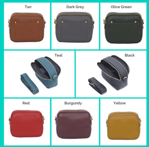 Double Zip Camera Box Leather Shoulder Cross Body Bag Front Card Compartment